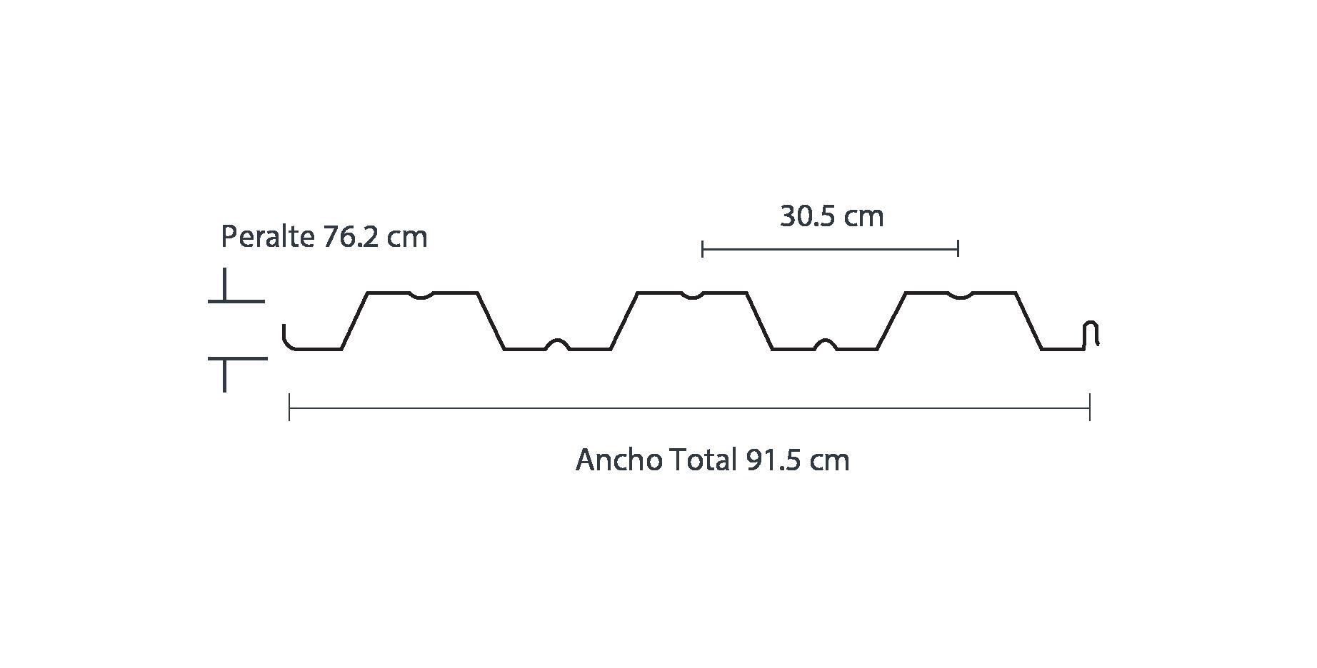 Medidas de la lámina losacero 30; lámina elaborada a partir de acero Ternium galvanizado.