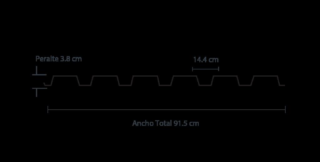 Medidas de la lámina RD 91.5; lámina elaborada a partir de acero Ternium galvanizado.